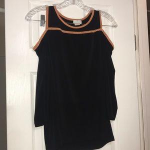 Tops - Black and Orange Open-shoulder Sweater